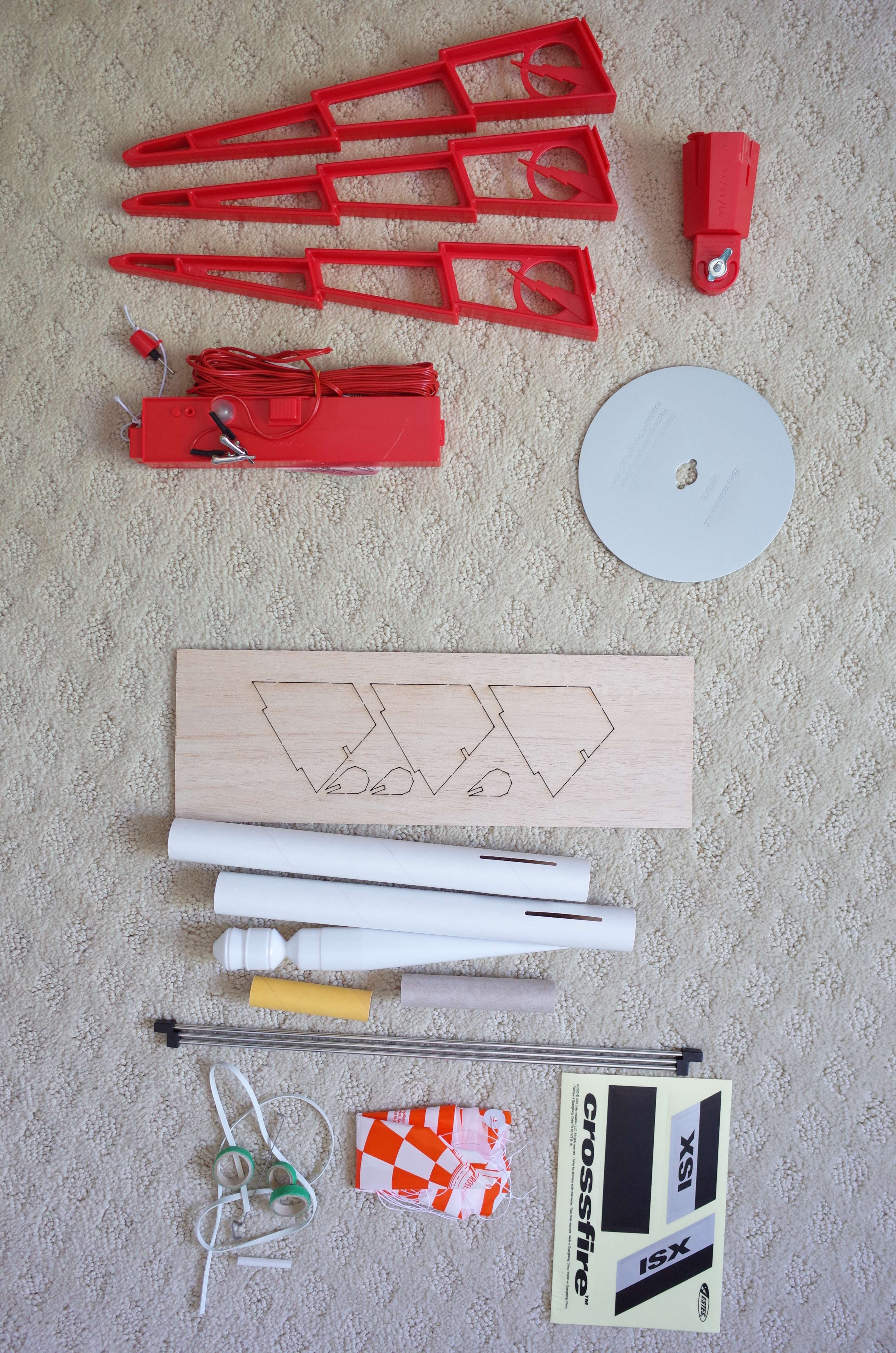 Unassembled rocket kit and launch pad