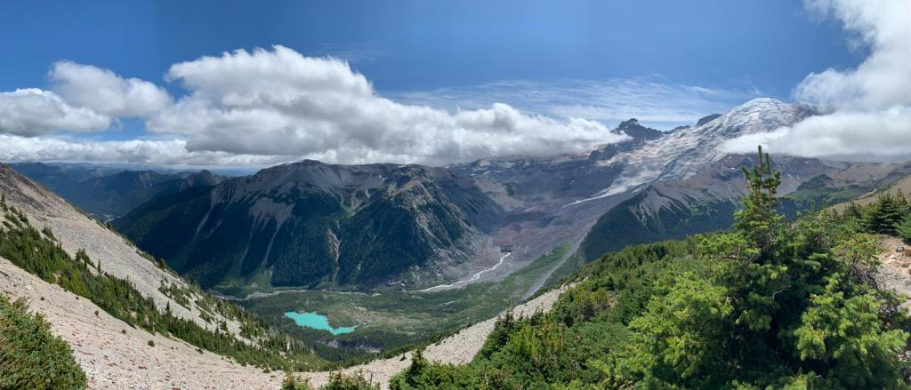 Panoramic view while hiking at Mt. Rainier