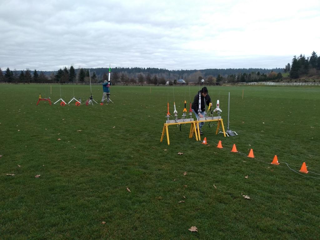 Setting up rockets on the range