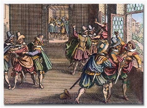 Artwork of the Defenestration of Prague, circa 1618