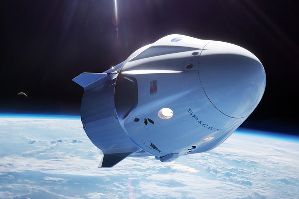 SpaceX Crew Dragon vehicle in space
