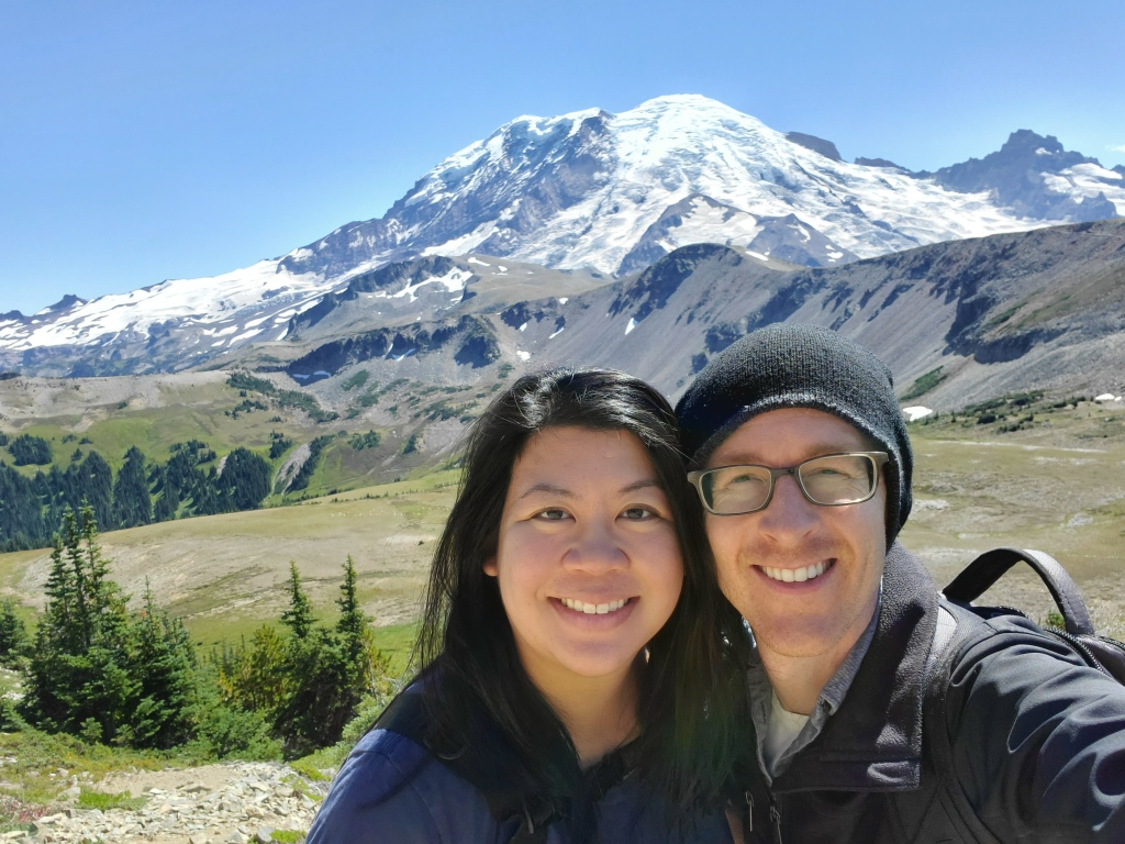 My wife and I, with Mt. Rainier in the background