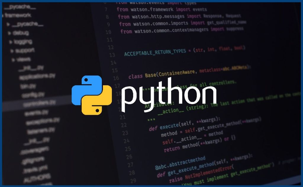 computer screen with python programming code