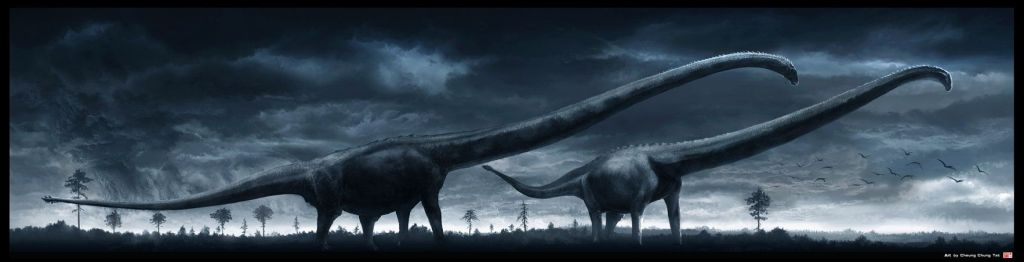 dark rendering of long-necked dinosaurs