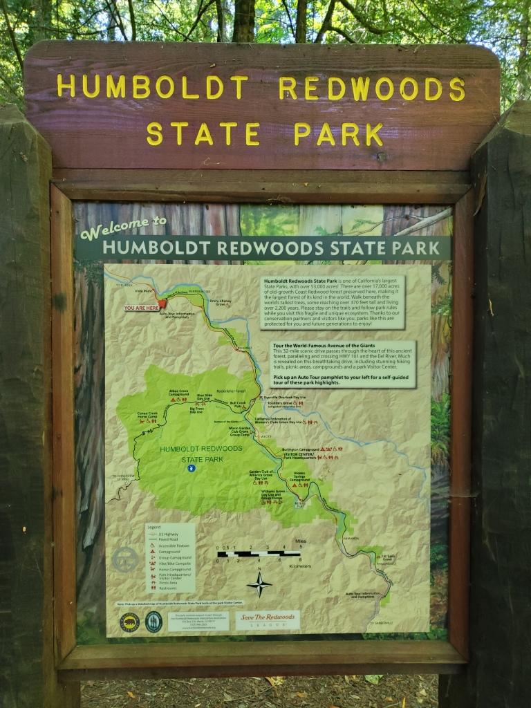 sign for humboldt redwoods state park