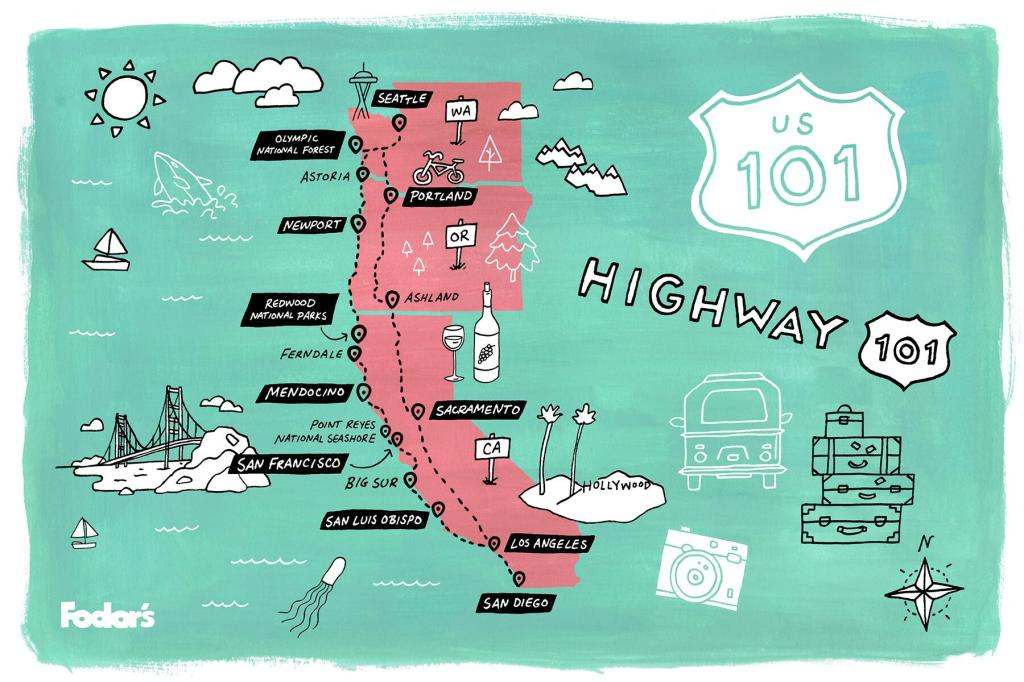 hand drawn map of highway 101 along west coast